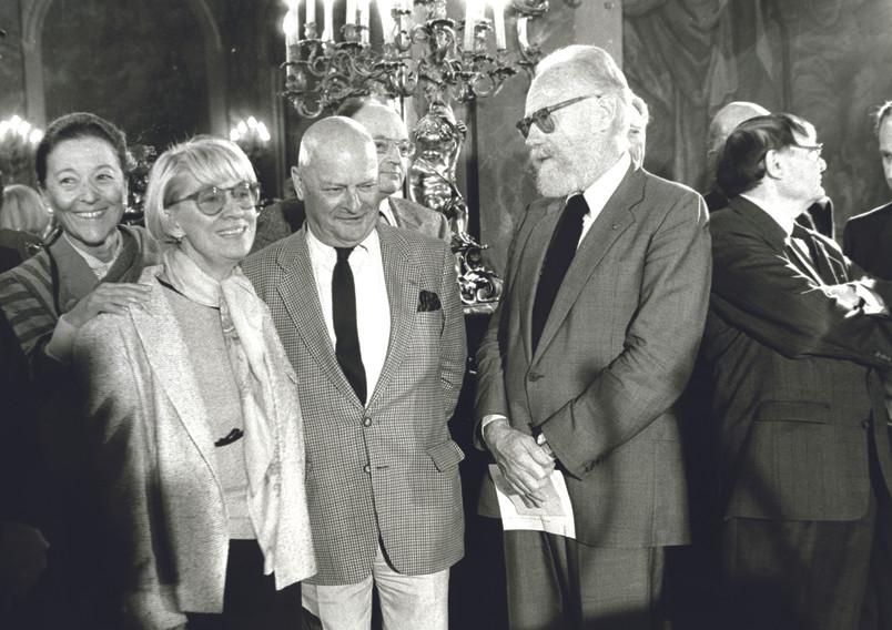 3 présidents ou futurs présidents de l'Académie sur cette photo : Hervé Bazin, François Nourissier, Edmonde Charles-Roux (1985 - VdN)