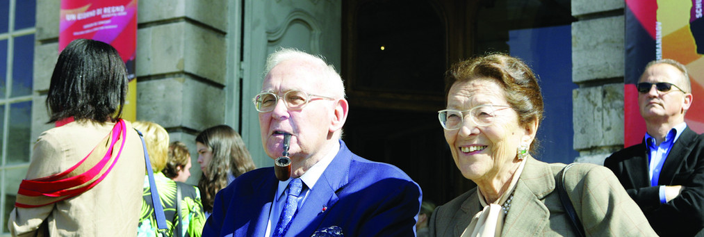 Edmonde Charles-Roux et Robert Sabatier, place Stanislas (photo VdN)