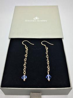 Blue Crystal Earrings - 925 Sterling Sil