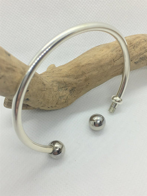 Luxury Verona Charm Cuff Bracelet - 925 Solid Sterling Silver - Removable Ball