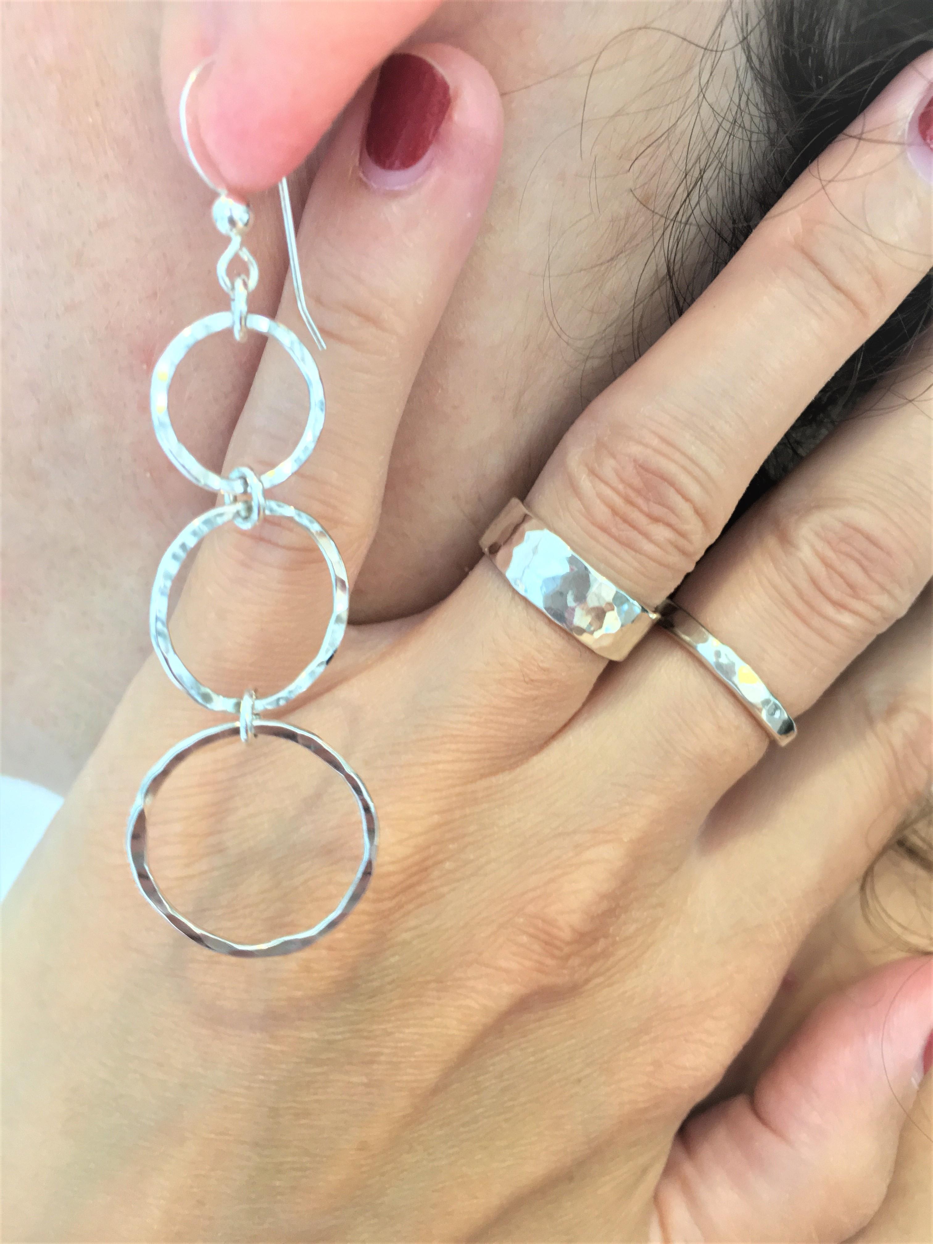 Silver Hoop Earrings - 925 Sterling Silv