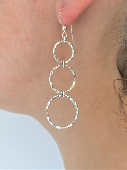Silver Hoop Earrings - 925 Sterling Silver - Hammered Earrings - Matching Ring -