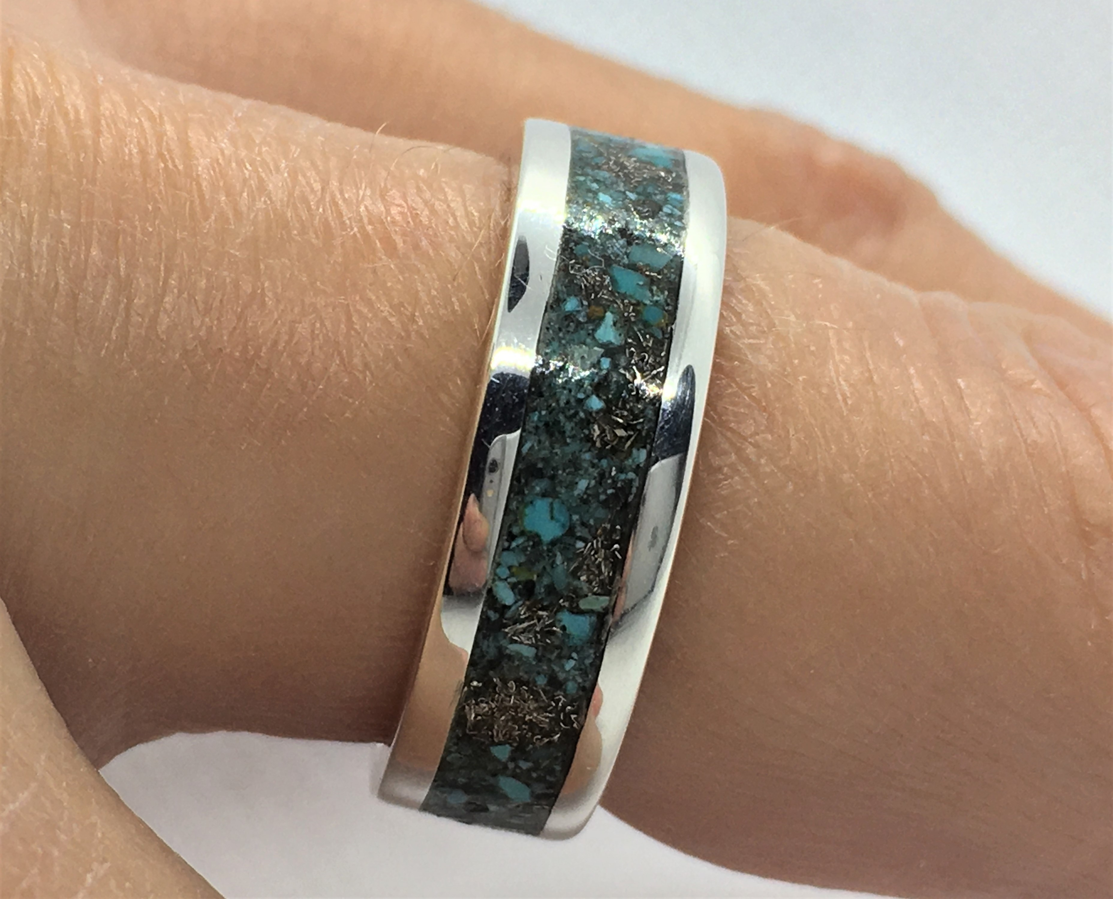 Silver Ring - Crushed Turquoise - 925 So