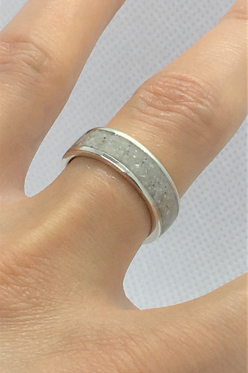 Silver Pearl Ring - Crushed Freshwater Pearls - 925 Solid Sterling Silver.