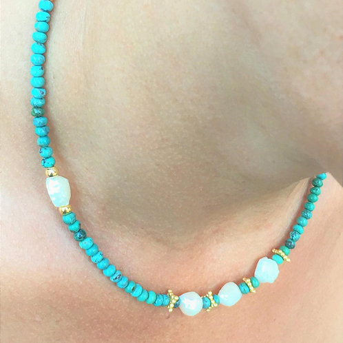 Freshwater Pearls, Turquoise Necklace, 16 inch with Magnetic Clasp.