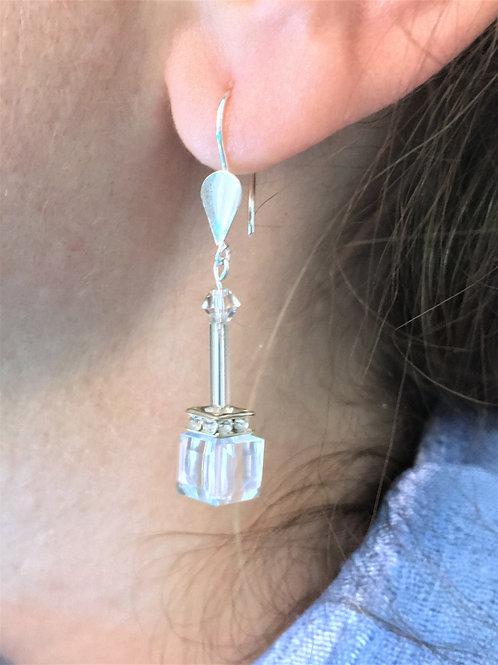 Crystal Cube Earrings - 925 Sterling Silver - Swarovski Elements - Birthday Gift