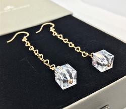 Crystal Cube Earrings - 925 Sterling Sil