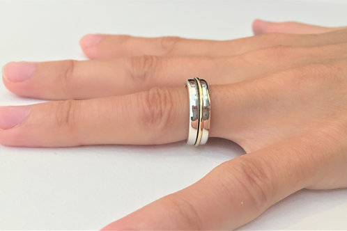 9ct Gold and 925 Solid Sterling Silver Ring - Bespoke - Engraved Ring.