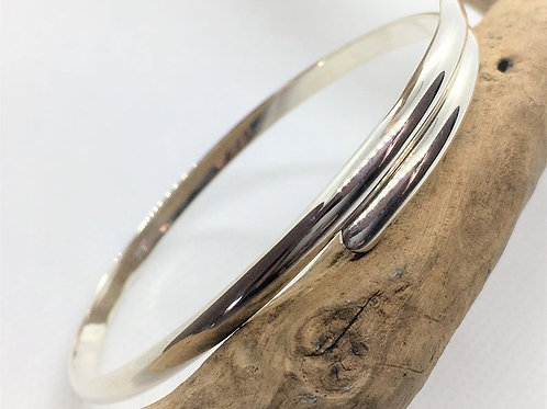 Solid 925 Sterling Silver Half Rounded Florence Classic Bracelet.
