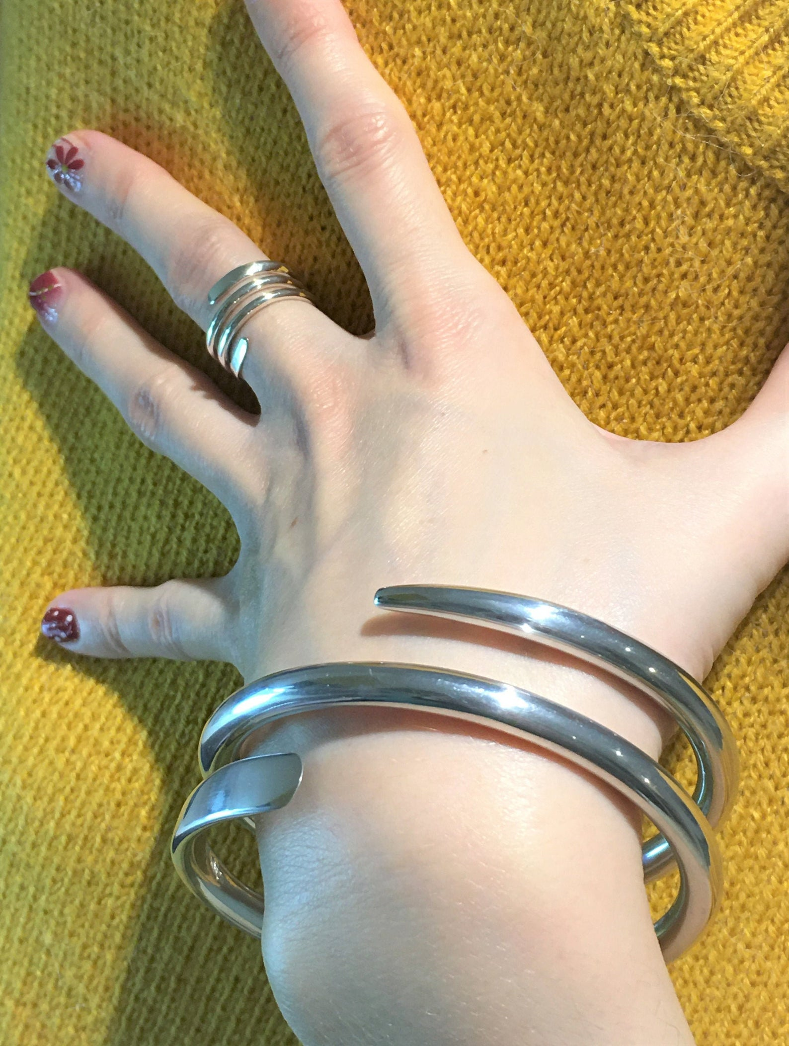 Chunky Silver Bangle - Lightweight Siena