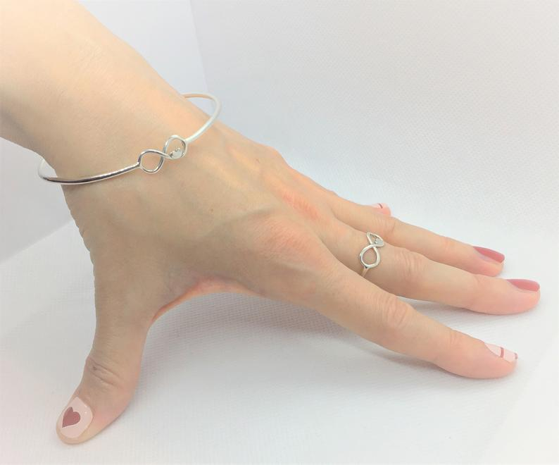 925 Sterling Silver Infinity Ring with H