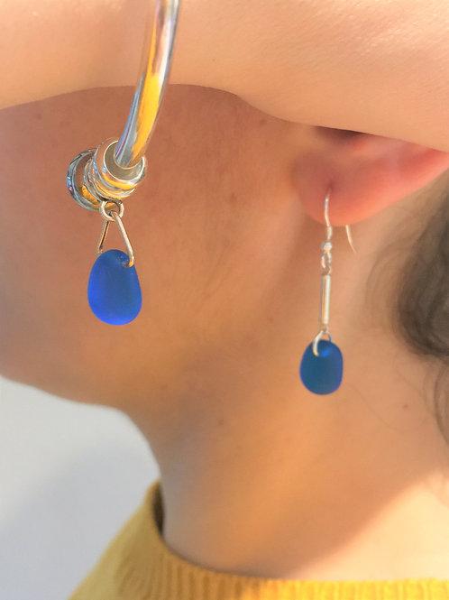 Sea Glass Earrings - Ocean Blue.