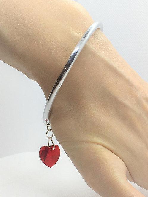 Luxury Swarovski Crystal Love Heart Cuff Bracelet - 925 Solid Sterling Silver.