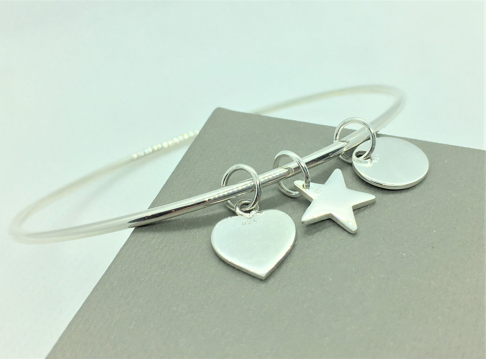 Sterling Silver Tag Bangle 9