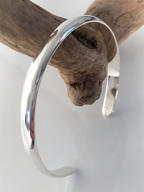 Solid 925 Sterling Silver Half Rounded Milan Classic Cuff Bracelet.
