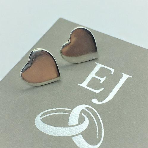 Silver Heart Stud Earrings - 925 Sterling Silver.