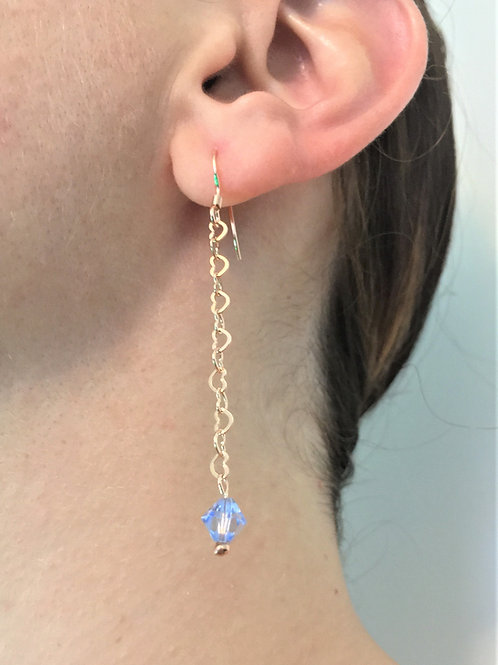 Blue Crystal Earrings - 925 Sterling Silver Chain - Plated with Gold - Swarovski