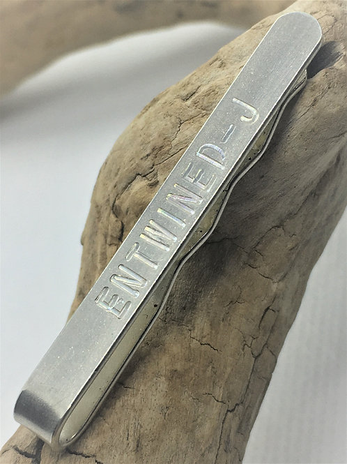 Engraved Tie Slide - 925 Solid Sterling Silver - Anniversary Gift - Fathers Day