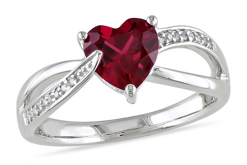 Sofia B 1 5/8 CT Created Ruby and Diamond Sterling Silver Ring Size 6.5