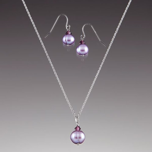 Lenox Amethyst Pearl and Crystal Necklace and Earrings Set