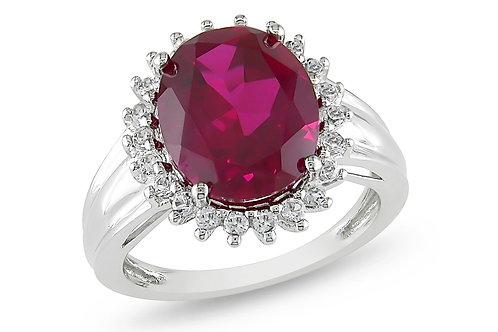 7 7/8 Carat Ruby & White Topaz Sterling Silver Ring