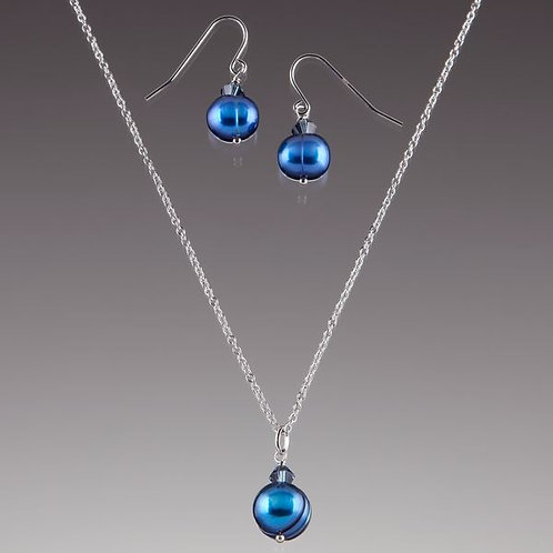 Lenox Navy Pearl and Crystal Stainless Steel Necklace and Earrings Set