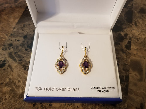 Classic Treasures Genuine Amethyst Diamond Earrings