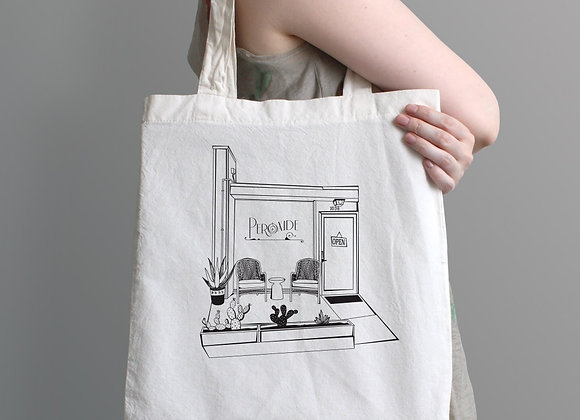 """The front of the shop"" Tote"