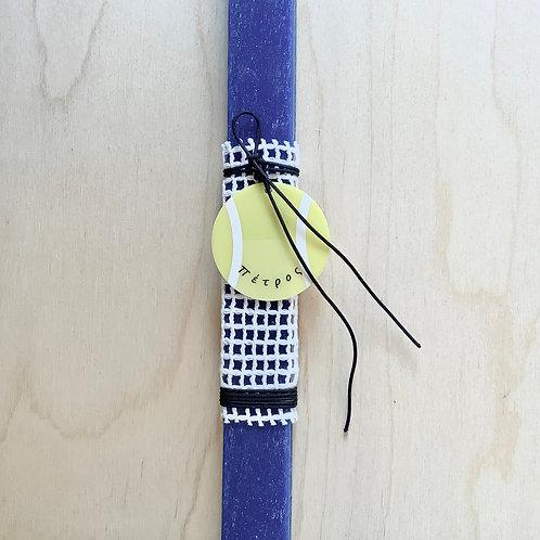 Προσωποποιημένη λαμπάδα με μπάλα τένις μπλε