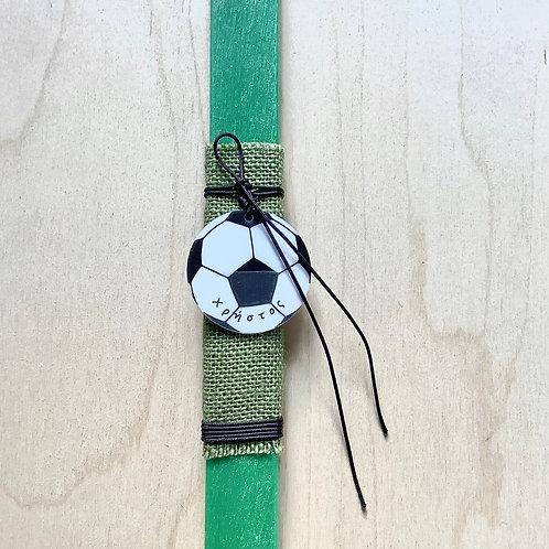 Προσωποποιημένη λαμπάδα με μπάλα ποδοσφαίρου πράσινη