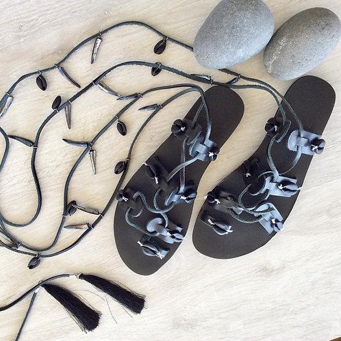 Δερμάτινα σανδάλια Seashells black