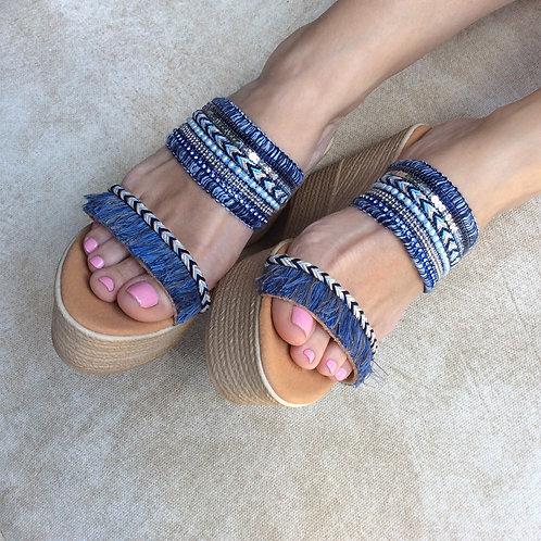 Δερμάτινα σανδάλια Blue platforms
