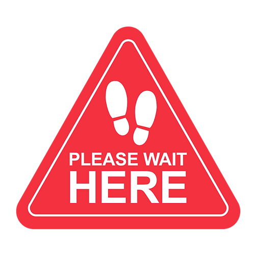 "Please Wait Here -Feet (Red) - Floor Graphic-Triangle 17""​​​​​​​"