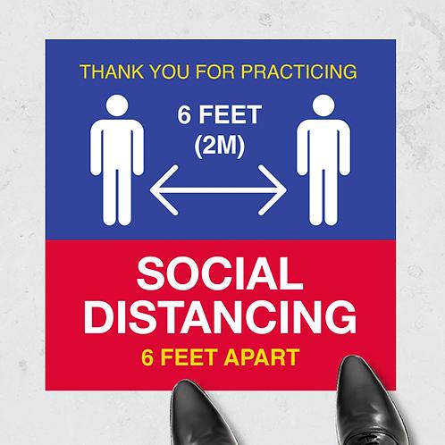 "Social Distancing- Floor Graphic 17""x17""-Non Slip"