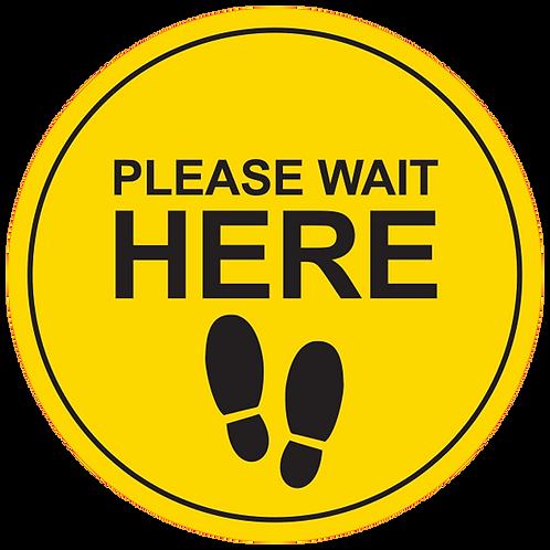 "Please Wait Here: Feet (Yellow) - Floor Graphic-Circle 17"""