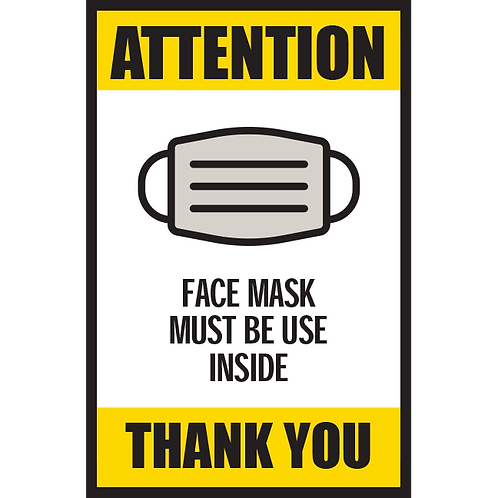 Series 5: Face Mask Must Be Worn Inside - Poster/Sign