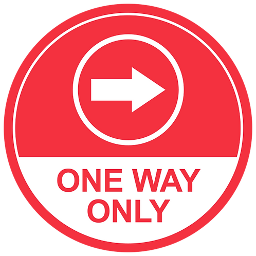 One Way Only Right Arrow (Red) - Floor Graphic-Circle 17""