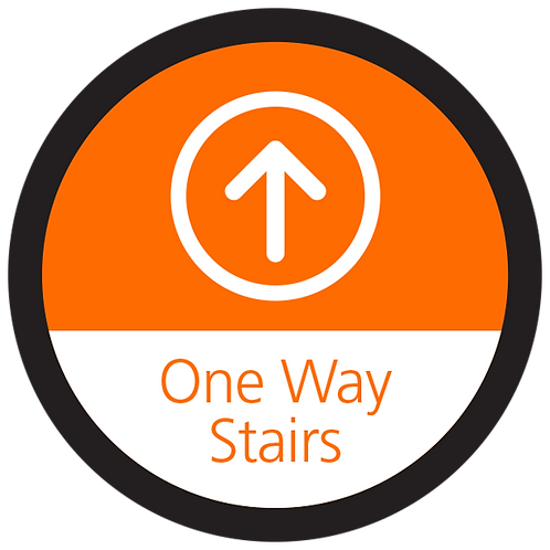 Series 4: One Way Stairs Up Arrow - Floor Graphic-Circle 17""