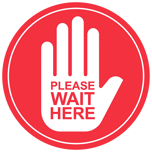 Please Wait Here: Hand (Red) - Floor Graphic-Circle 17""