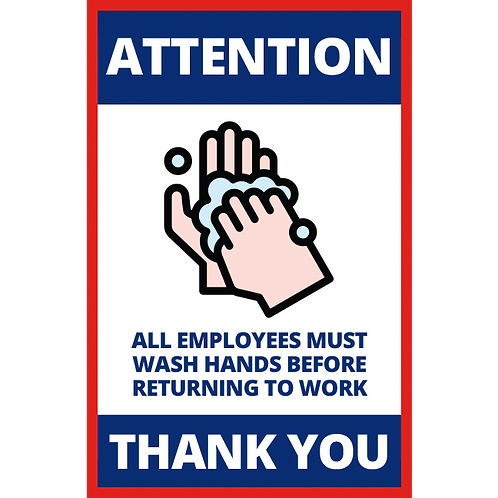 Series 1: All Employees Must Wash Hands - Poster/Sign