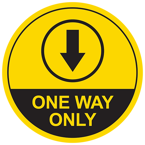 One Way Only Down Arrow (Yellow) - Floor Graphic-Circle 17""