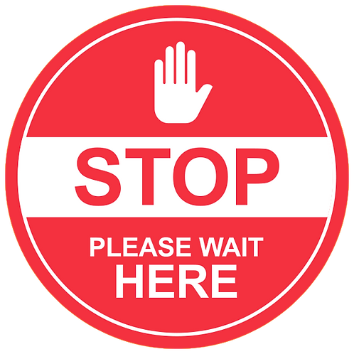 """Stop Please Wait Here (Red) - Floor Graphic-Circle 17"""""""