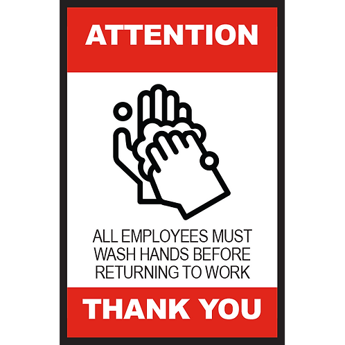 Series 2: All Employees Must Wash Hands - Poster/Sign