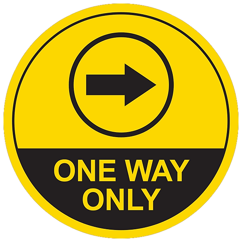 One Way Only Right Arrow (Yellow) - Floor Graphic-Circle 17""