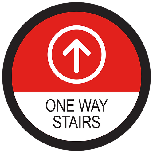 Series 2: One Way Stairs Up Arrow- Floor Graphic-Circle 17""