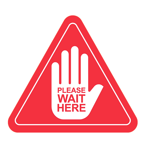 "Please Wait Here - Hands (Red) - Floor Graphic-Triangle 17""​​​​​​​"