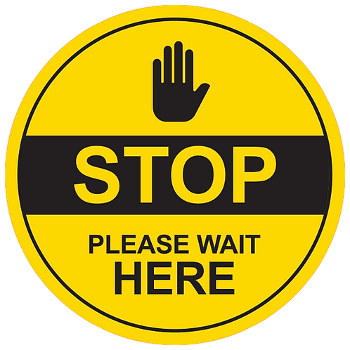 Stop Please Wait Here (Yellow) - Floor Graphic-Circle 17""