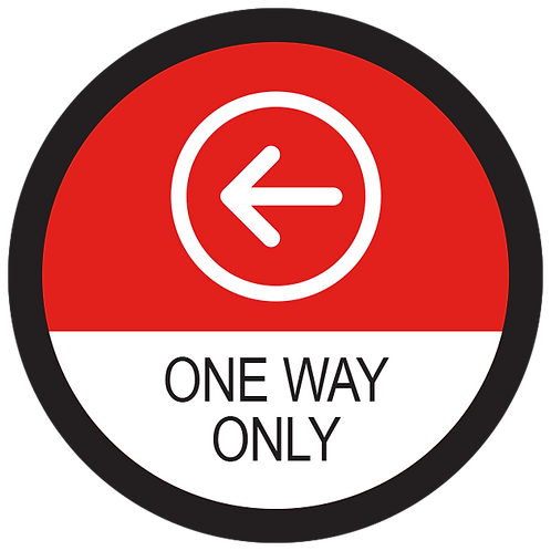 Series 2: One Way Only Left Arrow - Floor Graphic-Circle 17""