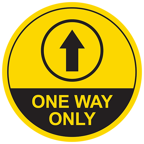 """One Way Only Up Arrow (Yellow) - Floor Graphic-Circle 17"""""""