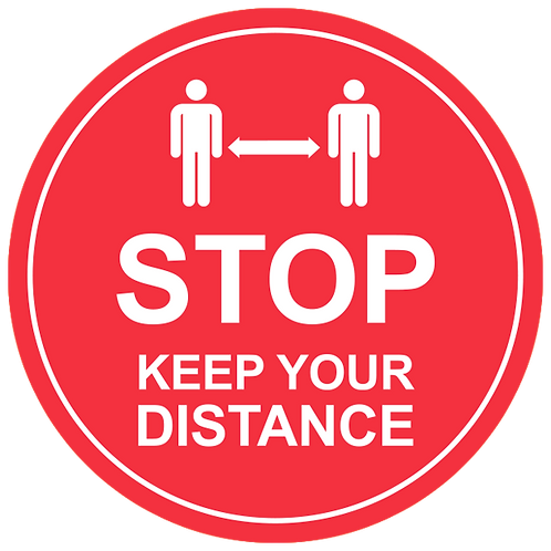 Stop Keep Your Distance (Red) - Floor Graphic-Circle 17""